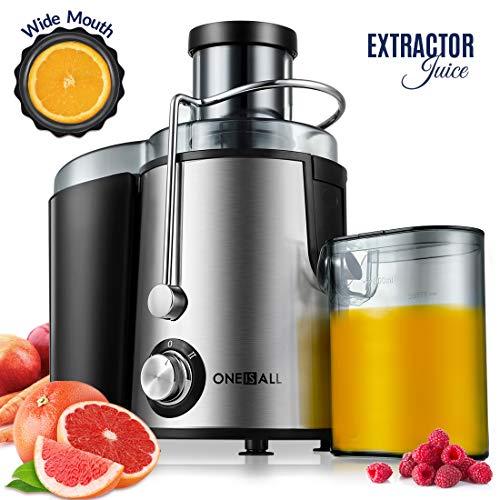 Entsafter, Oneisall Zentrifugaler Entsafter mit Tropfschutz, Ultraschnellen Extraktion von Obst und Gemüse, Einfach zu Reinigen Leiser Motor Rutschfeste Füße, Edelstahl und BPA-frei