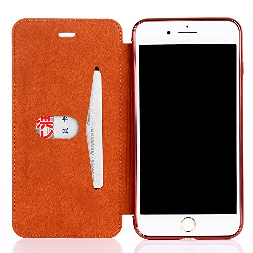 Flip Ledertasche für Apple iPhone 7 (4.7 zoll) - Aohro Luxus Dünn PU Leder Wallet Lederhülle Case Hülle Schutzhülle mit Kartenfächer. (Klar TPU Rückseite Cover) - Rot (Red) Rot