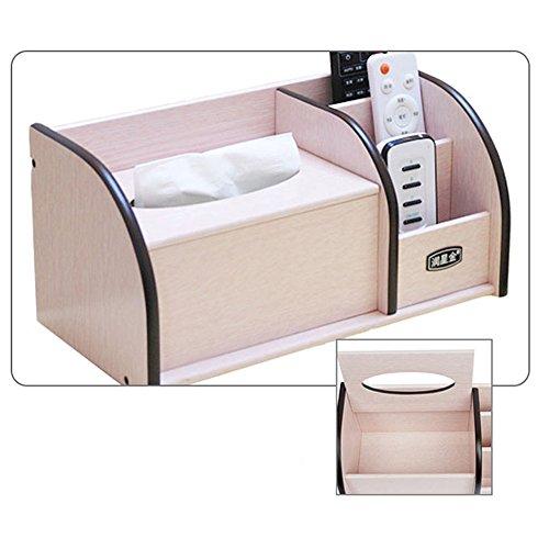 Stylehome Boîte de mouchoirs européenne en bois pompe à papier multi-fonction salon salon simple table basse table de bureau télécommande de restaurant de stockage de restaurant (foncé grand)