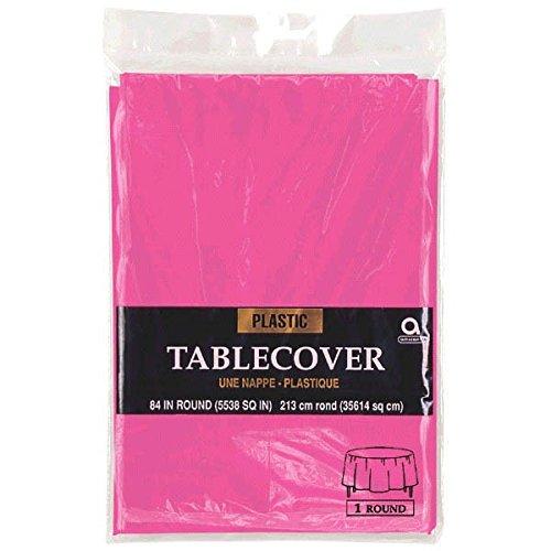 Amscan Runde Plastik-Tischdecke, Bright Pink