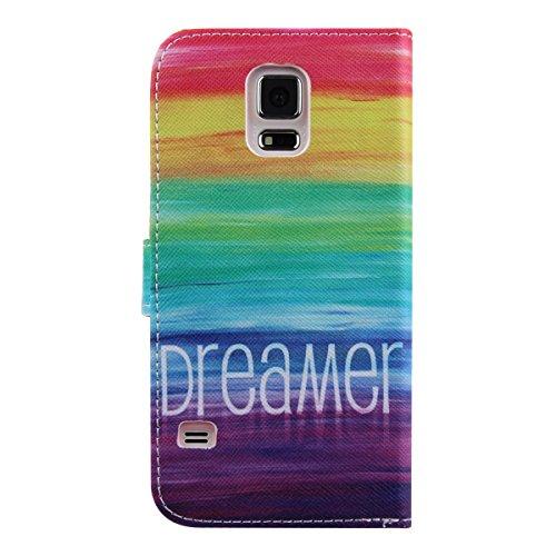 Coque pour Samsung Galaxy S5, ISAKEN Élégant Style PU Cuir Flip Magnétique Portefeuille Etui Housse de Protection Coque Étui Case Cover avec Stand Support pour Samsung Galaxy S5 SV I9600 G900 (#24) #2