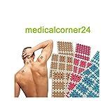 Medicalcorner24 18 Bögen Cross Tape, Cross Patches, Akupunktur-Pflaster, Gitterpflaster, Kinesiologie Gittertape 3. versch Größen in Beige