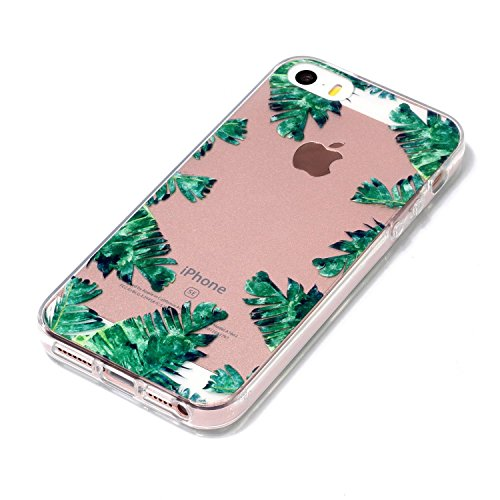 Cover iPhone 5S (4.0 pollici) Spiritsun iPhone 5 Custodia TPU Moda Elegante Case Cover Soft Silicone Back Cover Protezione Bumper Funzione Shell Morbida Flessible TPU Cover Per iPhone 5S/5/SE (4.0 Pol Foglia verde
