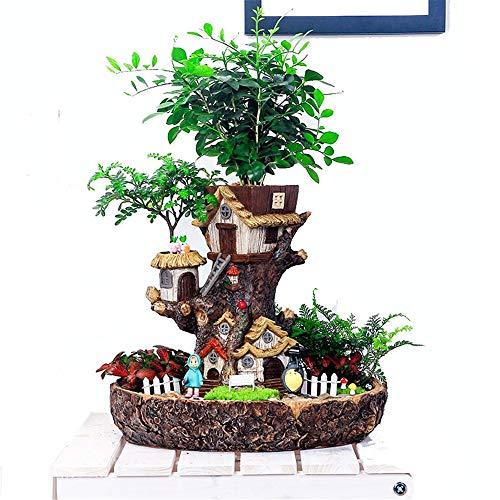 menpflanzen-Topf Feengarten Blumenpflanzen Sukkulenten Topf, Feen Design, DIY-Container und süßes Haus für Urlaub Dekoration und Geschenk (Farbe : Tree House, Größe : 26.8cm*29cm) ()