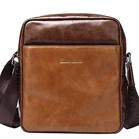 BISON DENIM Multipurpose Genuine Leather Laptop Messenger Bag Shoulder Bags Briefcase Brown (Brown Leather Messenger Bag)