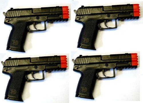 Nerd Clear Softair-Pistole 4 Stück im Set Compact 11 4 Stück inkl. Munition max. 0,08 Joule ab 3 Jahren! 6 mm ca. 21 cm schwarz rot