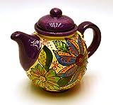 Art Escudellers Geschirr aus Keramik, handgefertigt und handbemalt, Blumendeko, Violett Théière
