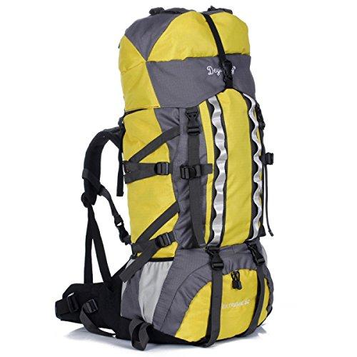 80 + 5L Largo Capacità All'aperto Sport Alpinismo Borsa Viaggi Camping Zaino,Orange-OneSize Yellow