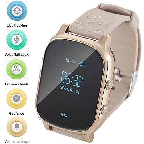 WINNES GPS Tracker Relojes OLED Pantalla Smart Watch Teléfono para Niños Eldrely GPS+lbs + WiFi Posicionamiento Dos Vías Reloj de Llamada de Voz Anti-Lost Alarma Soporte Android iOS T58 Oro/Plata