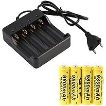 Malloom 4 x 18650 3.7V 9800mAh Batería recargable Li-ion + cargador inteligente