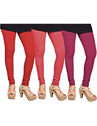 CAY 100% Cotton Combo of Pink, Dark Pink and Red Color Plain, Stylish & Most Comfortable Leggings For Girls & Women with Full Length (SIZE : Free Size)