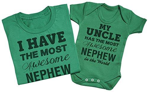 Most Awesome Nephew - Passende Onkel Baby Geschenk-Set - Herren T-Shirt & Baby Strampler Weiß