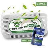 Ellis Harper Bolsas purificadoras de aire de carbón vegetal natural activadas Paquete de 2 con termómetro para refrigerador, desodorante y desodorante de carbón de bambú que absorbe olores