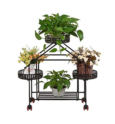 flanzenständer Blumenregal Topflappen Creative Iron Art Indoor Wohnzimmer Balkon Bodenstehend, Black ()