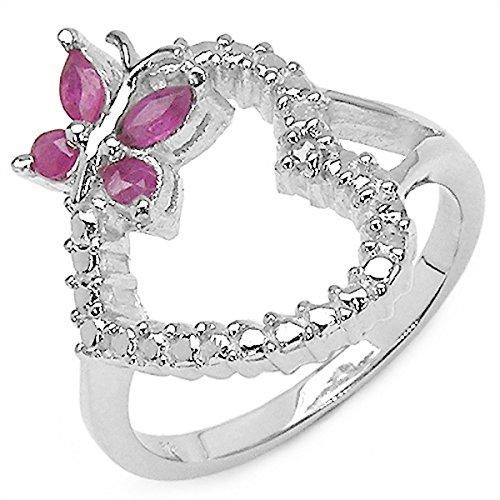 4-ring-diamant-herz 1 (Herz/Schmetterling-Ring-Silber-Rhodiniert 1 Diamant,4 Rubine-Gr.58)