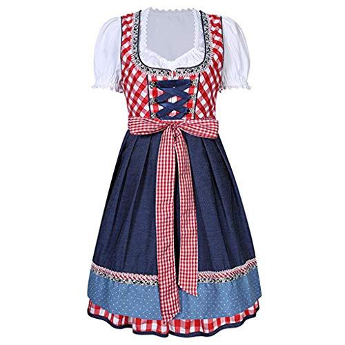 GROOMY 3 Teile/Satz Frauen bardame Dirndl Dress Kreuz Verband Platz Neck Kurzarm Karierten bayerischen Oktoberfest kostüme Halloween Karneval ()