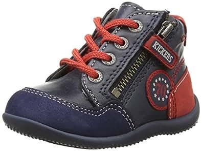 Kickers Bi Free, Chaussures Premiers pas mixte bébé, Bleu (Marine/Rouge), 18 EU