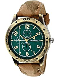 Golden Bell Original Green Dial Brown Leather Strap Analog Wrist Watch For Men - GB-916