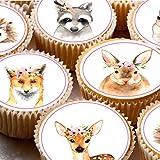 24Kuchen Topper 4cm auf Zuckerguss Cupcake Bilder–Aquarell Forest Friends Tiere Reh Hase Igel Fuchs mit Blumen