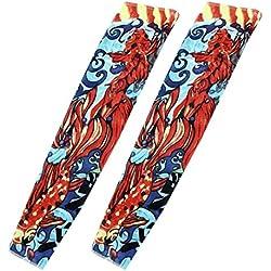 SourcingMap Dragón Imprimir Sun protección temporal del tatuaje del brazo mangas, 2 piezas, Colores