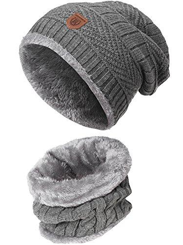 INDICODE Herren Siracusa Hoddie Wintermütze Warm Beanie Strickmütze inkl. Schal mit Fleecefutter Grey Mix One Size
