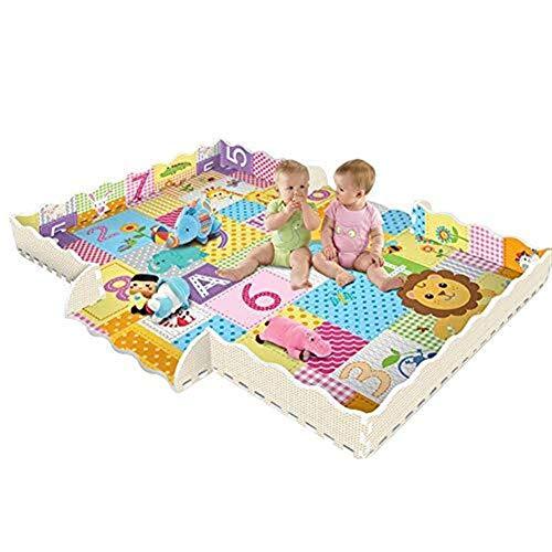 IVNZEI Babyspielmatte mit Zaun 2 cm Super dicke ineinandergreifende Schaumstoff-Bodenfliesen Extra große Krabbelmatte mit König der Löwen-Mustern, Spielzimmer-Kindergarten-Puzzlematte für Kleinkinder,