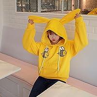xuanku Schöne pequeñas abejas Rabbit Ears lose Tapa Sweater Chaqueta hembra, amarillo