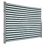 Ultranatura Maui Seitenmarkise ca. 180 x 300 cm, Seitenwandmarkise ausziehbar, Seitenrollo Balkon, Terrasse & Garten, Windschutz & Sichtschutz robust, grün/weiß