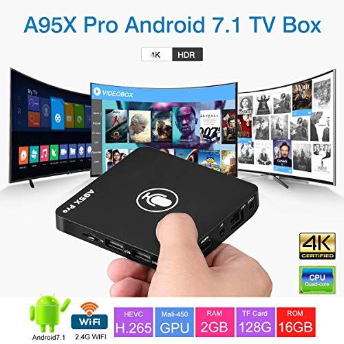 A95X Pro Android 7.1 TV Box (Amlogic Quad Core ARM Cortex-A53 Mali-450 GPU, 2GB RAM +16GB ROM,4K HD, 2.4G WiFi, mit Voice-Fernbedienung) Smart TV Box