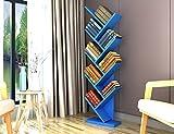 SUBBYE Einfache Moderne Wohnzimmer Bücherregale Baum Form Boden Steh Bücherregal Persönlichkeit Schlafzimmer Kinder Bücherregale Multi-Color Optional (Farbe : Blau)