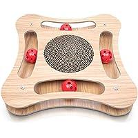Pfotenolymp® Premium Katzenspielzeug aus Holz - Interaktiv und mit Öko Kratzbrett aus Pappe für Katze - Fummelbrett für Beschäftigung - natürliches Futterspielzeug mit Ball und Katzenminze