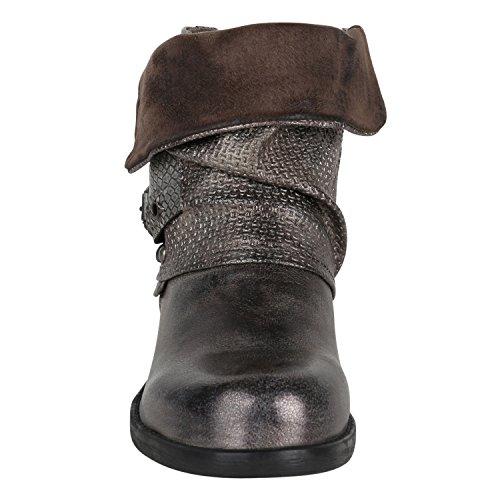 Stiefelparadies Damen Stiefeletten Biker Boots Schnallen Nieten Knöchelhohe Stiefel Leder-Optik Flandell Grau Metallic Glitzer