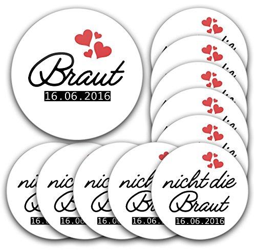 Minuten Kostüm Fünf Schnelle - 11er Maxi-Set personalisierte JGA-Anstecker #5: 1 Braut-Button 76mm 10 Buttons in 56mm mit Datum individualisiert für Junggesellinnenabschied