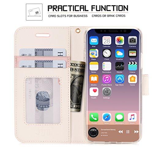 Cover iPhone X, Custodia iPhone X, Fyy® [RFID Blocco Portafoglio] 100% Custodia Manofatto Portafoglio [Sosotenitore Supportore] Con Slot da Proteggere le Carte Bancarie Identita per iPhone X Edition N B-Rosa Oro