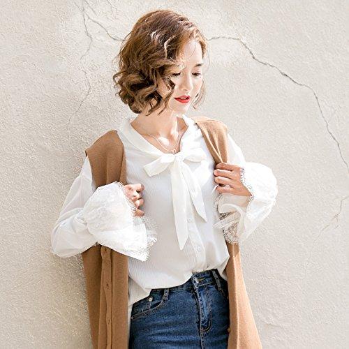 XXIN Der Schnee/Long Sleeve V-Neck Shirt Woven Weiblich/Liberale/Student T-Shirt/S/Weiß/Farbe