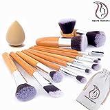 Professional Makeup Brushes Start Makers 12pcs Bamboo Handle Makeup Brush Set With Beauty Blender Makeup Sponge...