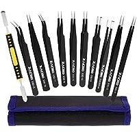 Zacro 11 Pcs Kit de Pinzas de Precisión, Tweezers Anti-Estáticas de Acero Inoxidable para las Electrónicas, Joyería, Laboratorio o Cosmetología, etc, Negro