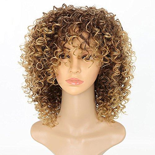 newfb Afro lockig Perücken für Damen schwarz Kinky Curly Ombre Blond Natur schwarz Kunsthaar Perücken African 35,6cm