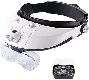 Asnpo Lupenbrille Led Licht Hände Frei Kopfband Lupen Lampe Stirnband Brille Lupen Lupe Für Hobby Elektriker Juweliere Uhrmacher Nähen Handwerk Kosmetik Und ältere Menschen 1 0x 1 5x 2 0x 2 5x 3 5x Küche Haushalt