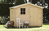Alpholz Gerätehaus Antwerpen 270 x 240cm aus Fichten-Holz | Gartenhaus inkl. Dachpappe | Geräteschuppen naturbelassen ohne Farbbehandlung (270 x 240cm)