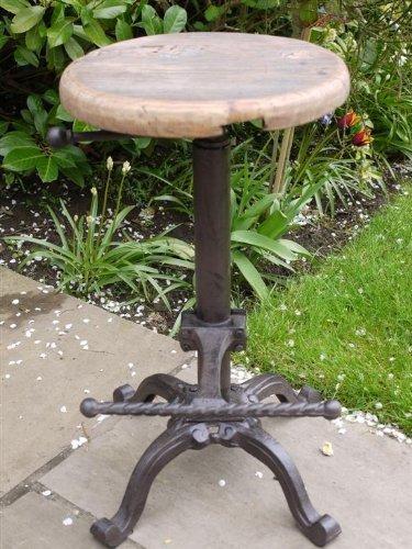 LS Rustikaler Traktorsitz / Barhocker Vintage Antik Eisen/Holzhocker für Garten / Küche mit Holzsitz – Verstellbare Höhe