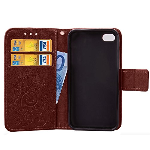 Custodia iPhone 4S,Custodia iPhone 4,Custodia iPhone 4S / 4, iPhone 4S Cover, ikasus® iPhone 4S / 4 Custodia Cover [PU Leather] [Shock-Absorption] Protettiva Portafoglio Cover Custodia Goffratura Trif Marrone