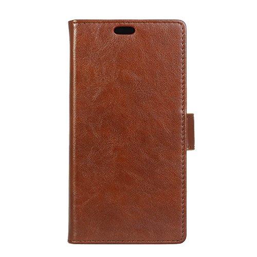 Für HTC One X9,Sunrive Magnetisch Schaltfläche Ledertasche Schutzhülle Etui Hülle mit Standfunktion Cover Tasche Case Handyhülle Kartenfächer Kreditkarte Taschen Schalen Handy Tasche Flip Wallet Stil Lederhülle(braun)+Gratis Universal Eingabestift