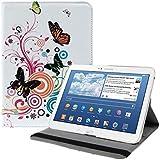 kwmobile Hülle 360° für > Samsung Galaxy Tab 3 10.1 < Case in Schmetterlinge Hippie Design mit Ständer - Schutzhülle Tablet Tasche mit Standfunktion in Mehrfarbig Pink Weiß