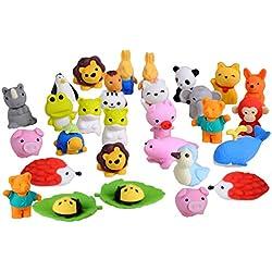 BEETEST Gomas de borrar 30 PCS 30 estilos divertidos Puzzle animales lápiz borradores Puzzle juguetes para fiestas favores juegos premios carnavales regalos escolares suministros