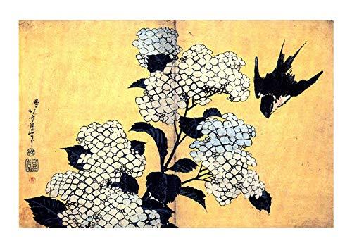 Hydrangea Giclee Canvas Art (Spiffing Prints Katsushika Hokusai - Hydrangea and Swallow - Large - Archival Matte - Framed)