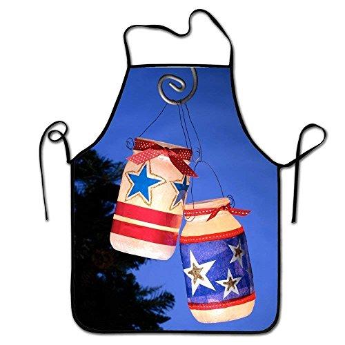 Chef Bib Apron, Durable Spun Poly Cotton, Cooking Kitchen Restaurant Uniform Aprons for Men Women-Fourth of July Lanterns (July Of Fourth Bbq)