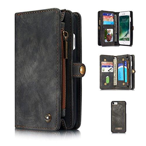 A9H iPhone 7 Multifunktions Hochwertigen PU Leder Handy Tasche mit Schutzhülle Handyhülle hülle und Geldbörse 2 in 1,Schwarz (Book-tasche-geldbörse)