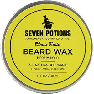 Beard Wax 30 ml. All Natural, Organic Beard Styling Wax For Medium Hold. Shape And Nourish Your Moustache and Beard While Looking Natural. Doesn't Make The Beard Stiff (Citrus Tonic)
