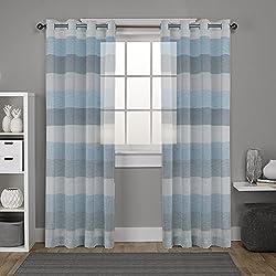 """DEZENE rayas gasa cortinas para sala de estar–2paneles–(aspecto de lino–cortina de confección con ollaos, tela, Black Sky Blue and Whit, 2 x 54"""" x 90""""(140x228cm)"""